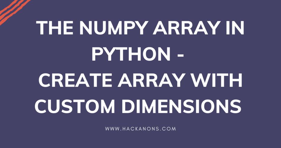 Numpy creating array